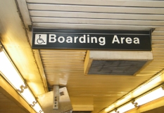 NYC subway boarding area sign